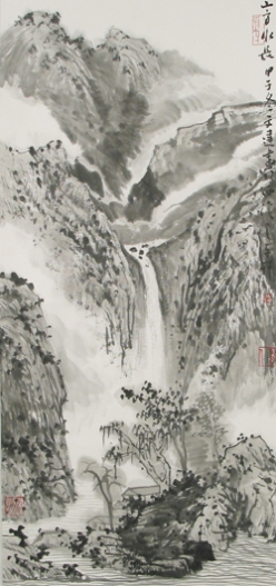 Gu Wen Da (1955- ), Chinese, High Mountain, Long Stream, ink on paper, gift of Dr. Marcus Jacobson, collection of the Utah Museum of Fine Arts, University of Utah.