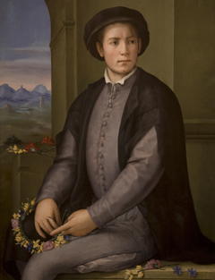Portrait of a Young Man Weaving a Wreath of Flowers