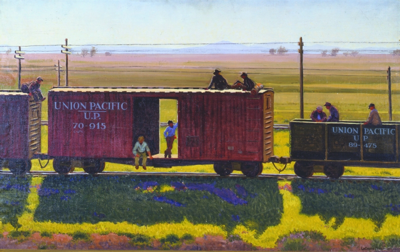 boxcar with men on top and inside