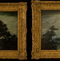 before and after conservation pictures of silvery night paiting