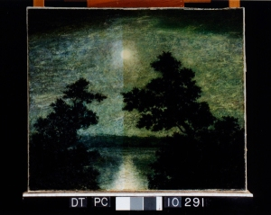 image of the painting half way through the conservation process