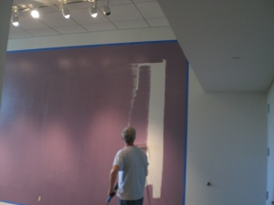 painting the wall purple