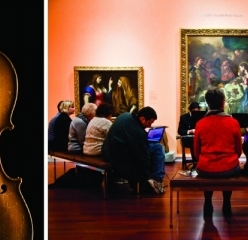 violin and photo of previous chamber music concert