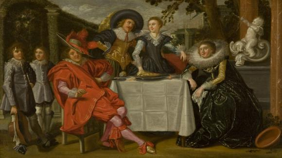 painting of 17th century dutch people gathered around a table, having a good time.