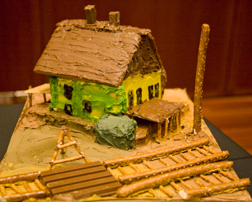 Gingerbread house in LeConte Stewart Style