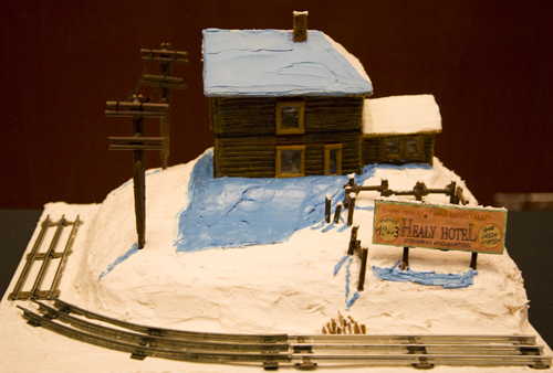 Gingerbread house on a hill