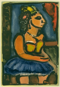 Georges Rouault, Madame Louison, 1935, color etching and aqua, courtesy of the Syracuse University Art Collection