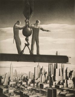 men standing on a beam above a city