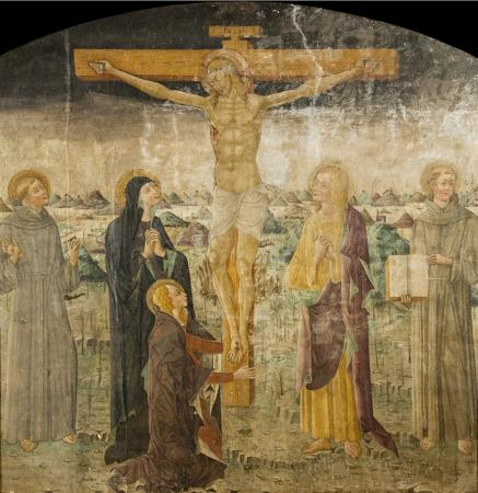 fresco of crucifixion before restoration
