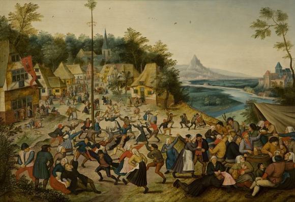 Image of renaissance era peasants dancing around a maypole