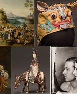 african beaded hat, Dance Around the Maypole, Chinese Children's tiger hat, Mosaic, Dancing Dog, Horse perfume bottle, Natacha Rambova and Rudolph Valentino