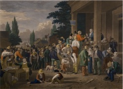"""""""The County Election, after George Caleb Bingham"""" by John Sartain. 1854."""