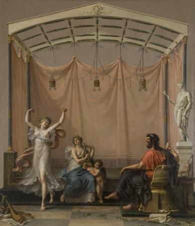 """Anacreon, Sappho, Eros and a Female Dancer"" by Etienne de Lavalle"