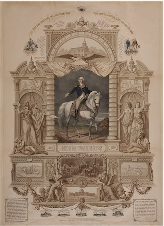 """1776 George Washington 1876 In Commemoration of the Hundredth Anniversary of American Independence."" Wittemann Bros., American. 1877."