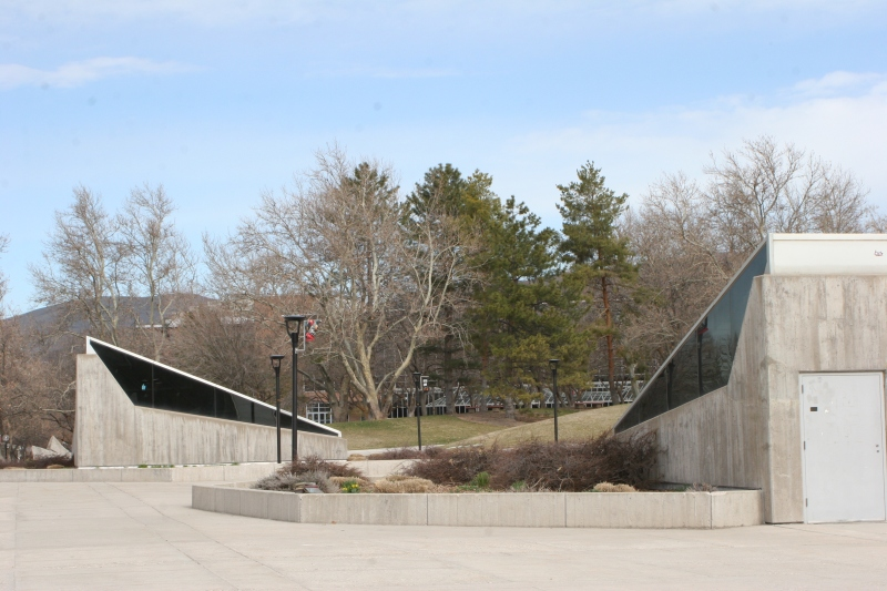 Marriott Library Plaza, looking toward the Student Union Building