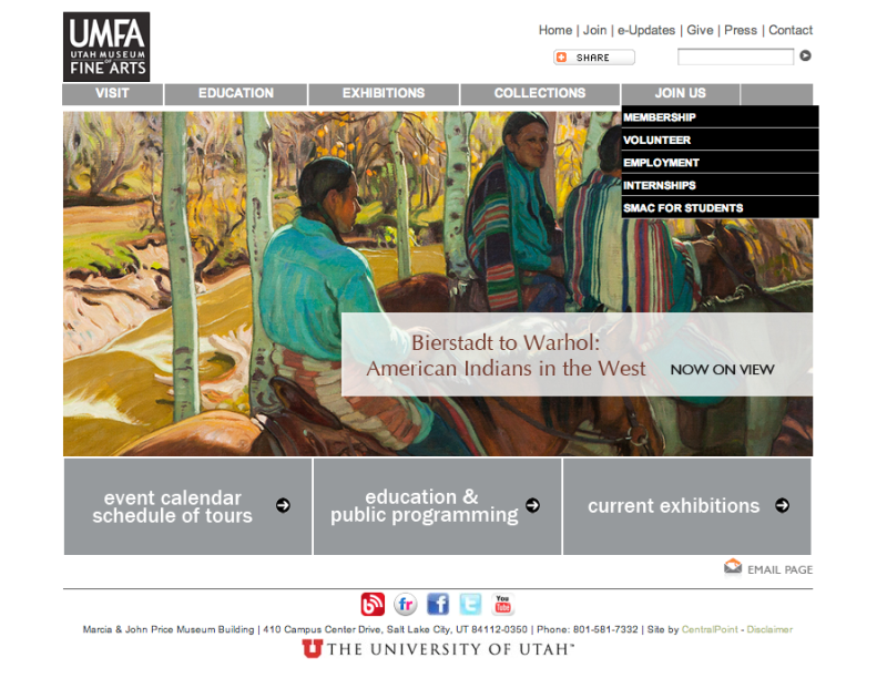 The homepage of the UMFA.