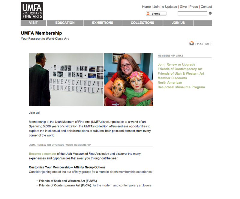 The membership information page of the UMFA
