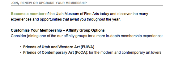 Detail shot of our membership page: Become a member!