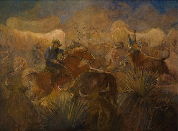 """Battle of the Bulls."" Minerva Kohlhepp Teichert."