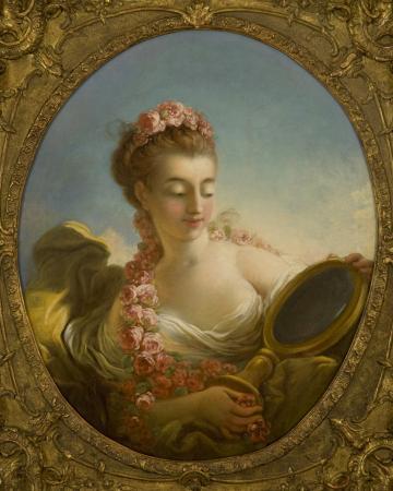 Mademoiselle Marie-Madeleine Guimard (Tête de femme au miroir) (Woman Looking in a Mirror). 1772