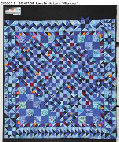 """Utah Museum of Fine Arts 1970-1995."" It is signed and says ""Milestones c.1995 Utah Designed by Laura Tomita Lyons Pieced and Quilted by Wasatch Mountain Quilters 1975 – 1995"""