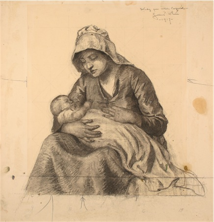 "Study for ""Utah Capitol [pioneer woman with infant]."" Gilber White. Charcoal. 1917."