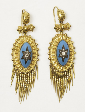 Earrings. Gift of Mrs. J.P ( Virginia) Gibbons.