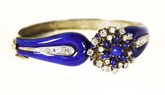 Enamel, Lapis, and Diamonds Bracelet. Bequest of Dolores Dore (Mrs. George S.) Eccles.