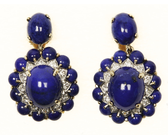 Lapis and Diamond Earrings. Bequest of Dolores Dore (Mrs. George S.) Eccles