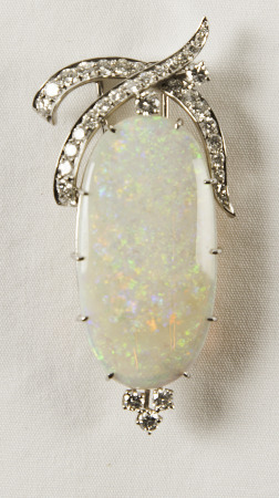Opal and diamond brooch; Bequest of Dolores Dore (Mrs. George S.) Eccles