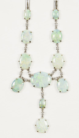 Opal and diamond necklace; Bequest of Dolores Dore (Mrs. George S.) Eccles