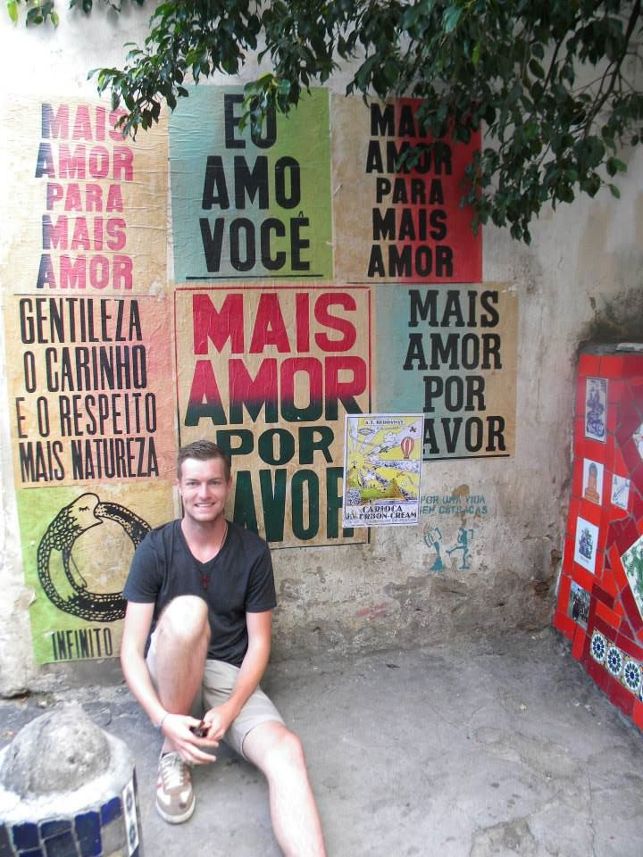 William Maguire at the Escadaria Selarón in Rio de Janeiro