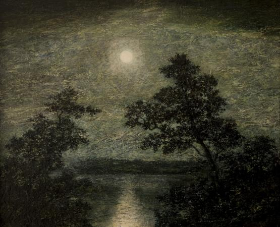 """Silvery Night"" by Ralph Albert Blakelock. Gift of Marion Sharp Robinson, conserved with funds from the Ann K. Stewart Docent and Volunteer Conservation Fund"