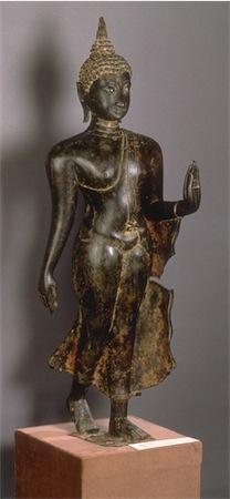 Walking Buddha; Bronze;  Sukhothai period.