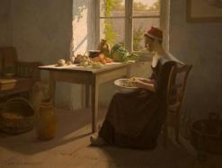 """""""Preparations for Dinner"""" by James T Harwood.  Transferred from the collection of the A. Ray Olpin University Union and conserved with funds from the Ann K. Stewart Docent and Volunteer Conservation Fund"""