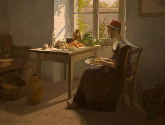 """Preparations for Dinner"" by James T Harwood.  Transferred from the collection of the A. Ray Olpin University Union and conserved with funds from the Ann K. Stewart Docent and Volunteer Conservation Fund"