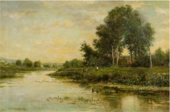 """The River"" by Charles Francoise Daubigny. Gift of Edward Bartlett Wicks."