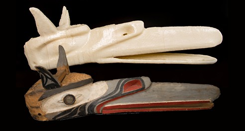 Raven Mask, Northwest Coast, Kwakiutl people, early 20th century, pigment on wood from the UMFA collection, alongside a 3-D printed version courtesy of the Marriott Library.