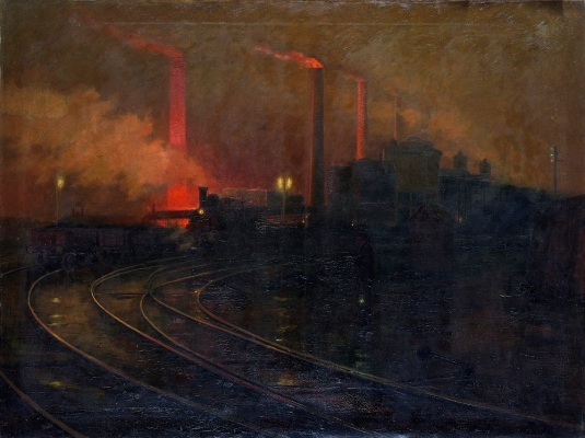 Lionel Walden, Steelworks, Cardiff, at Night, 1895–97. Oil on canvas, 59 3/8 x 78 7/8 in. National Museum Wales (NMW A 2245). Courtesy American Federation of Arts.