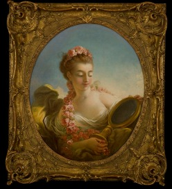 Jean Honore Fragonard, Mademoiselle Marie-Madeleine Guimard (Tête de Femme au Miroir) (Woman Looking in a Mirror), circa 1772, oil on canvas. Gift of Val A. Browning, conserved with funds from the Ann K. Stewart Docent and Volunteer Conservation Fund, from the Permanent Collection of the Utah Museum of Fine Arts.